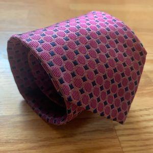 T. M. Lewin Pink & Blue Silk Geometric Tie